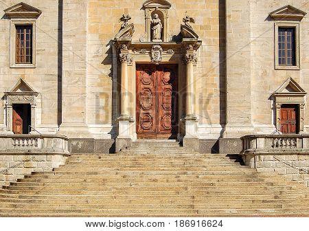 Stairway and main entrance of Collegiata dei SS Pietro e Stefano - Bellinzona Switzerland