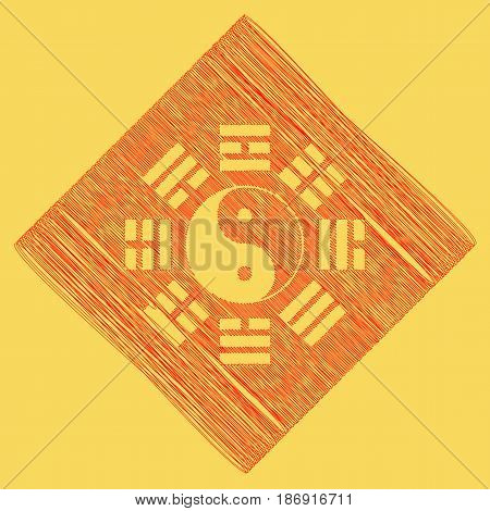 Yin and yang sign with bagua arrangement. Vector. Red scribble icon obtained as a result of subtraction rhomb and path. Royal yellow background.