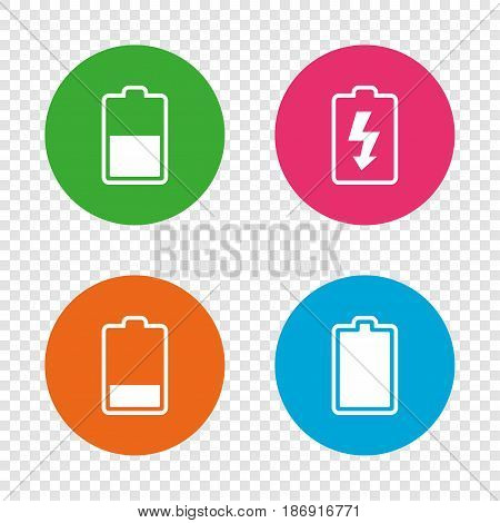 Battery charging icons. Electricity signs symbols. Charge levels: full, half and low. Round buttons on transparent background. Vector