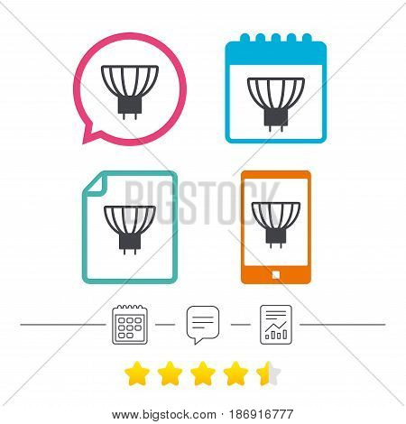 Light bulb icon. Lamp GU5.3 socket symbol. Led or halogen light sign. Calendar, chat speech bubble and report linear icons. Star vote ranking. Vector