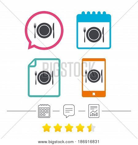 Plate dish with fork and knife. Eat sign icon. Cutlery etiquette rules symbol. Calendar, chat speech bubble and report linear icons. Star vote ranking. Vector