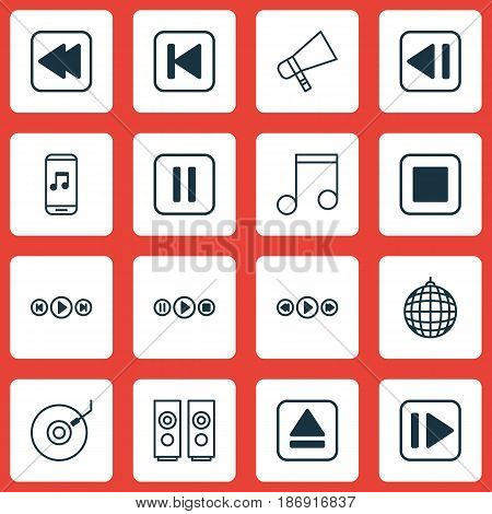 Set Of 16 Audio Icons. Includes Mute Song, Song UI, Dance Club And Other Symbols. Beautiful Design Elements.