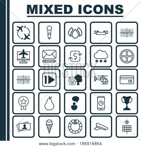 Set Of 25 Universal Editable Icons. Can Be Used For Web, Mobile And App Design. Includes Elements Such As Aqua, Fly Around, Flight Vehicle And More.