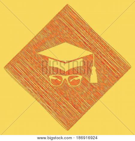 Mortar Board or Graduation Cap with glass. Vector. Red scribble icon obtained as a result of subtraction rhomb and path. Royal yellow background.