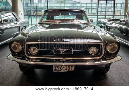 STUTTGART GERMANY - MARCH 03 2017: Pony car Ford Mustang convertible 1967. Europe's greatest classic car exhibition