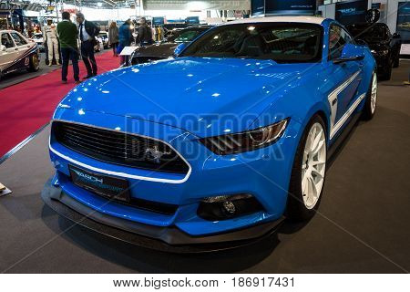 STUTTGART GERMANY - MARCH 03 2017: Pony car Ford Mustang GT AM2 Fastback Coupe 2016. Europe's greatest classic car exhibition
