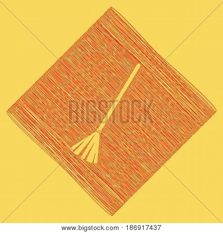 Sweeping broom sign. Vector. Red scribble icon obtained as a result of subtraction rhomb and path. Royal yellow background.