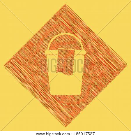 Bucket and a rag sign. Vector. Red scribble icon obtained as a result of subtraction rhomb and path. Royal yellow background.