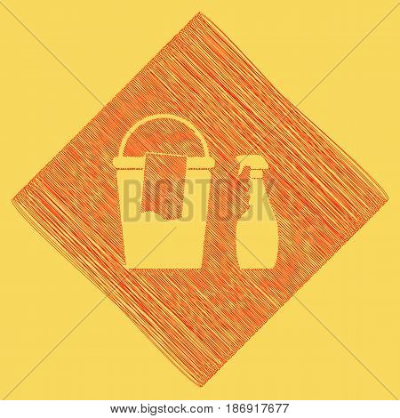 Bucket and a rag with Household chemical bottles. Vector. Red scribble icon obtained as a result of subtraction rhomb and path. Royal yellow background.