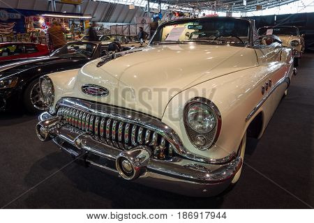 STUTTGART GERMANY - MARCH 03 2017: Full-size car Buick Super Convertible 1953. Europe's greatest classic car exhibition