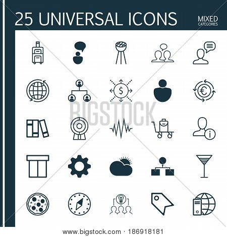 Set Of 25 Universal Editable Icons. Can Be Used For Web, Mobile And App Design. Includes Elements Such As Cardinal Direction, Internet Network, Aperitif And More.