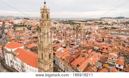 Porto cityscape with famous bell tower of Clerigos Church, Portugal