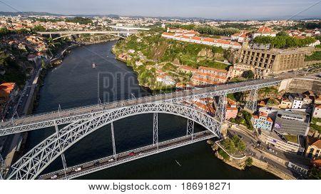 Porto old town and bridge dom luis I cityscape, Portugal