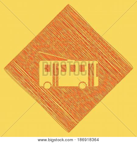 Trolleybus sign. Vector. Red scribble icon obtained as a result of subtraction rhomb and path. Royal yellow background.