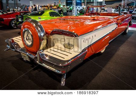 STUTTGART GERMANY - MARCH 03 2017: Full-size car Edsel Pacer Convertible 1958. Rear view. Europe's greatest classic car exhibition