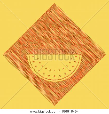 Watermelon sign. Vector. Red scribble icon obtained as a result of subtraction rhomb and path. Royal yellow background.