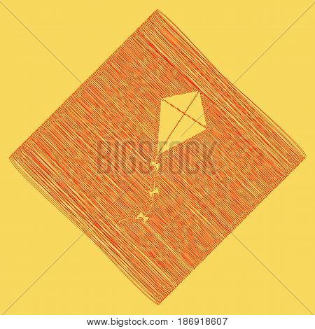 Kite sign. Vector. Red scribble icon obtained as a result of subtraction rhomb and path. Royal yellow background.