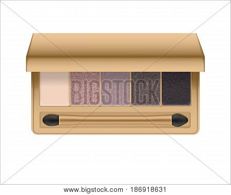 Realistic eyeshadow palette with brush. Package with eye shadow for nude makeup: shiny nature colors. Containers of cosmetic product for beauty eyes. Vector illustration isolated on white background.