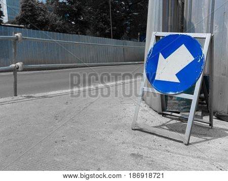 road sign arrow down with blue color photo taken in jakarta java indonesia