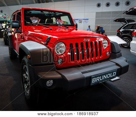 STUTTGART GERMANY - MARCH 03 2017: Mid-size SUV Jeep Wrangler Unlimited Rubicon 2016. Europe's greatest classic car exhibition