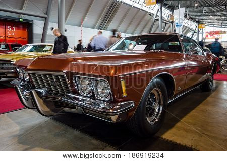 STUTTGART GERMANY - MARCH 03 2017: Personal luxury car Buick Riviera 1972. Europe's greatest classic car exhibition
