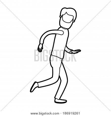 black thick contour caricature faceless full body man with beard and moustache running vector illustration