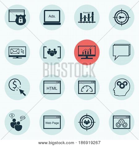 Set Of 16 SEO Icons. Includes Loading Speed, Web Page Performance, PPC And Other Symbols. Beautiful Design Elements.