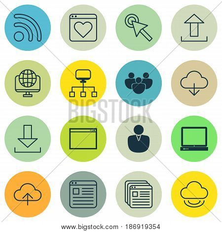 Set Of 16 Internet Icons. Includes Account, Website Page, Cursor Tap And Other Symbols. Beautiful Design Elements.