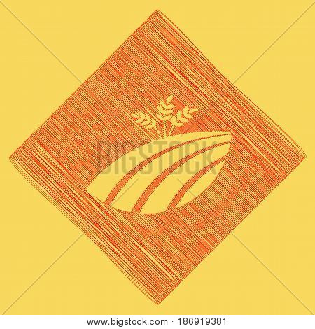 Wheat field sign. Vector. Red scribble icon obtained as a result of subtraction rhomb and path. Royal yellow background.