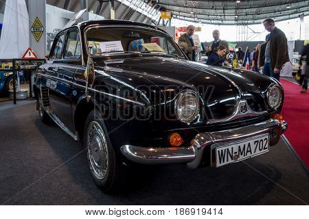 STUTTGART GERMANY - MARCH 03 2017: Supermini car Renault Dauphine 1959. Europe's greatest classic car exhibition