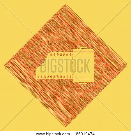 Old photo camera casset sign. Vector. Red scribble icon obtained as a result of subtraction rhomb and path. Royal yellow background.
