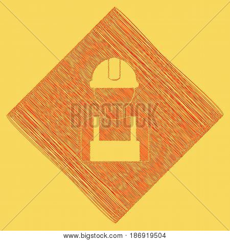 Worker sign. Vector. Red scribble icon obtained as a result of subtraction rhomb and path. Royal yellow background.