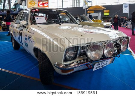 STUTTGART GERMANY - MARCH 03 2017: Mid-size car Opel Ascona A 1973. Europe's greatest classic car exhibition