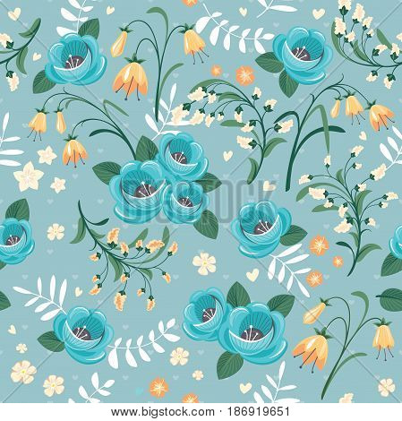 seamless pattern with floral elements vector illustration