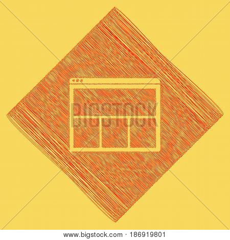 Web window sign. Vector. Red scribble icon obtained as a result of subtraction rhomb and path. Royal yellow background.