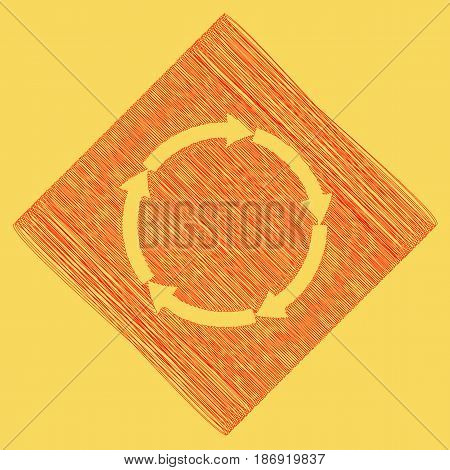 Circular arrows sign. Vector. Red scribble icon obtained as a result of subtraction rhomb and path. Royal yellow background.