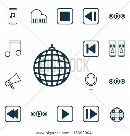 Set Of 16 Multimedia Icons. Includes Octave, Note, Audio Buttons And Other Symbols. Beautiful Design Elements.