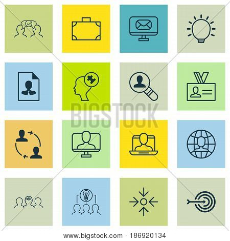Set Of 16 Business Management Icons. Includes Social Profile, Cv, Business Aim And Other Symbols. Beautiful Design Elements.