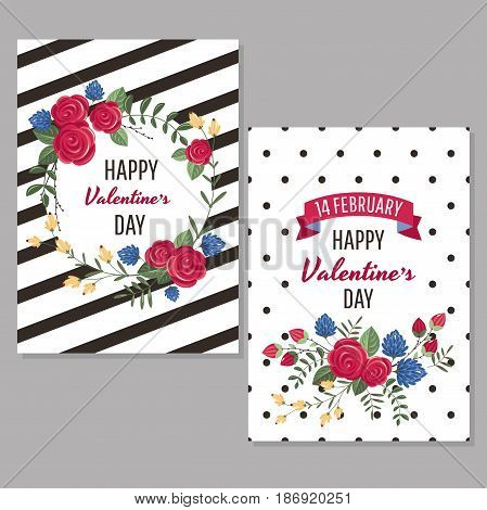 Valentine's day greeting cards with flowers vector illustration