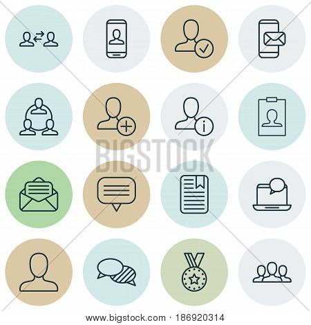 Set Of 16 Communication Icons. Includes Mail Notification, Web Profile, Business Exchange And Other Symbols. Beautiful Design Elements.