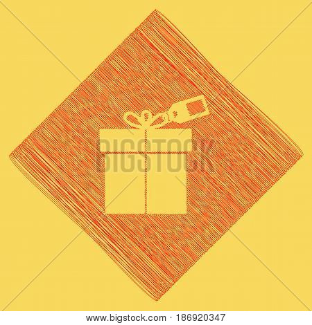 Gift sign with tag. Vector. Red scribble icon obtained as a result of subtraction rhomb and path. Royal yellow background.