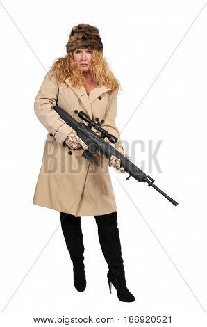 Beautiful young woman soldier with a rifle