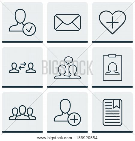 Set Of 9 Social Icons. Includes Message, Note Page, Business Exchange And Other Symbols. Beautiful Design Elements.