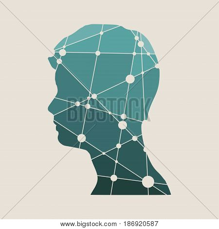Profile of the head of a man. Mental health relative design template. Scientific medical designs. Molecule And Communication Background. Connected lines with dots.
