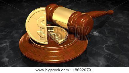 Dollar Coin Split In Half Law Concept 3D Illustration