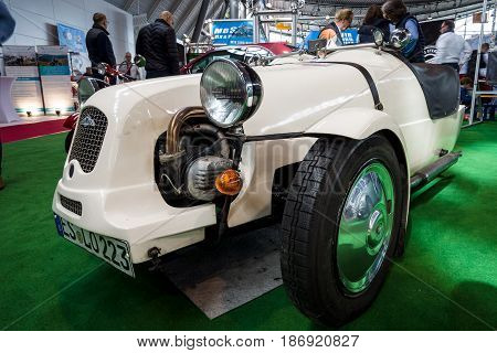 STUTTGART GERMANY - MARCH 03 2017: A British kit car Lomax 223 based on the mechanical components of the Citroen 2CV. Europe's greatest classic car exhibition