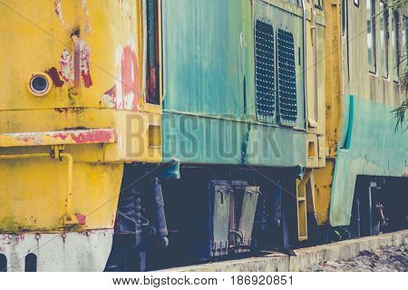Abandoned Train Bogie Rusty At Kantang In Trang Thailand.