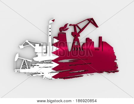 Energy and Power icons set and grunge brush stroke. Energy generation and heavy industry relative image. Flag of the Qatar. 3D rendering