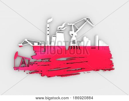 Energy and Power icons set and grunge brush stroke. Energy generation and heavy industry relative image. Flag of the Poland. 3D rendering