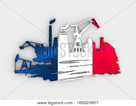 Energy and Power icons set and grunge brush stroke. Energy generation and heavy industry relative image. Flag of the France. 3D rendering